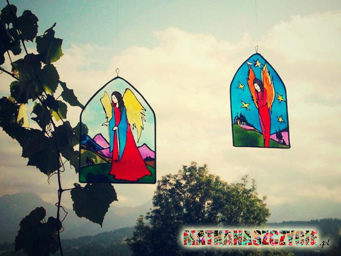 Anioły malowane na szkle