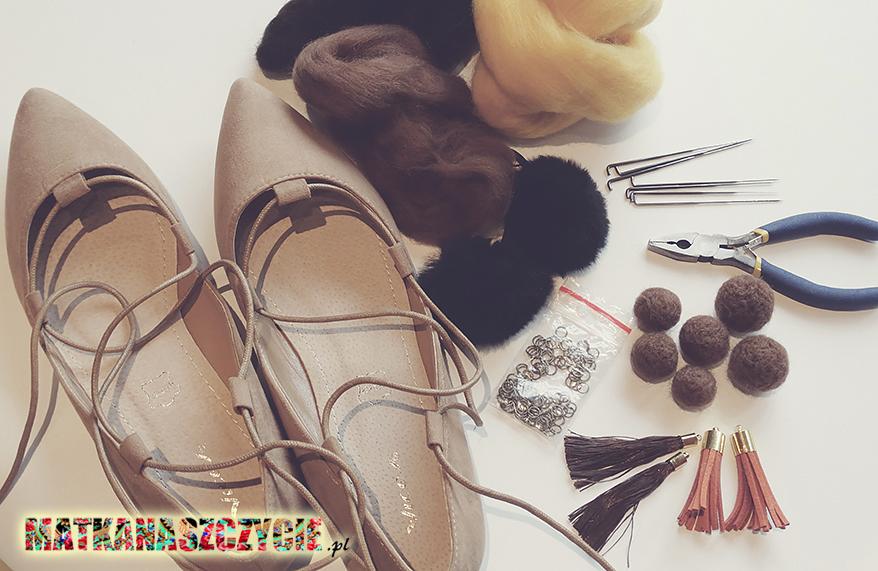 jak zrobić buty z pomponami