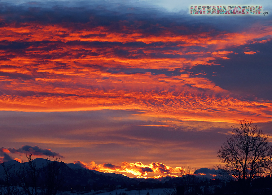 grudzień zachód słońca Tatry