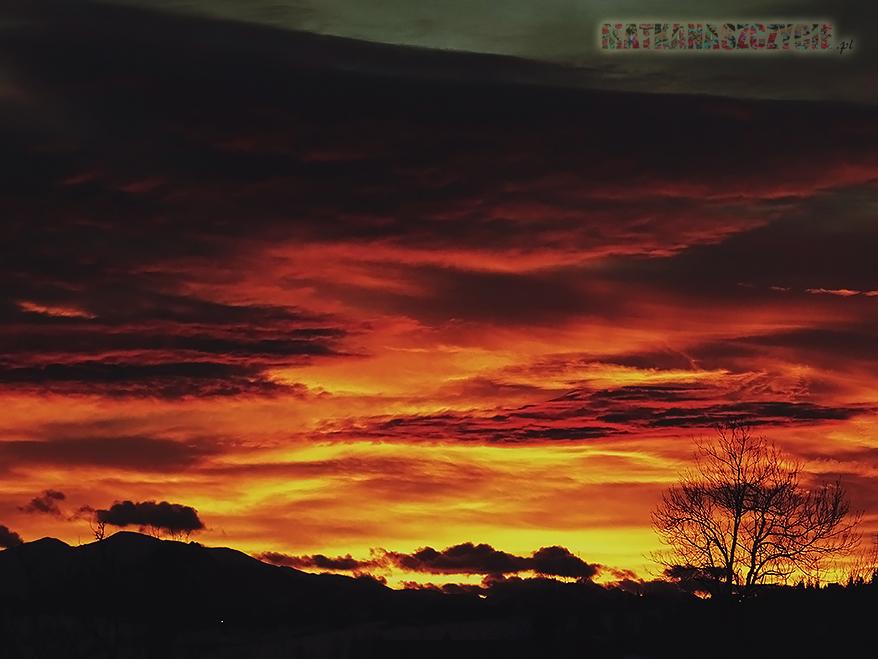 wieczorne niebo zachód góry tatry