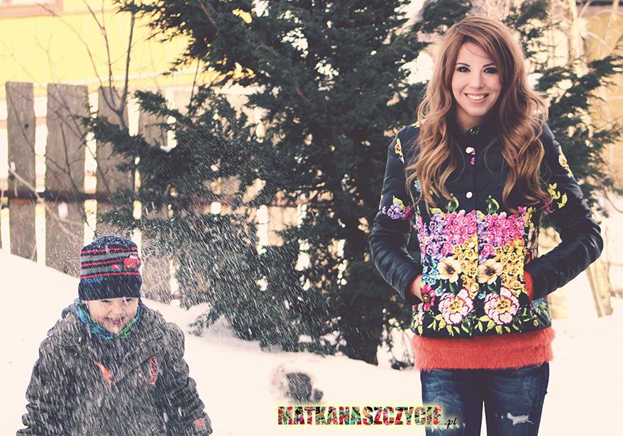 kurtka w kwiaty folk zima
