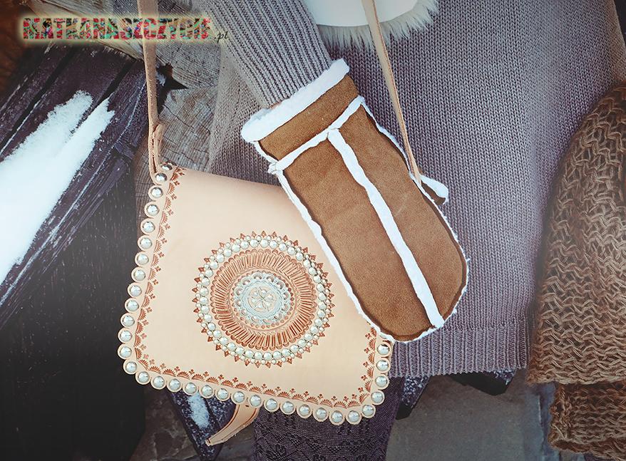 moda folk góralska rękawiczki na zimę